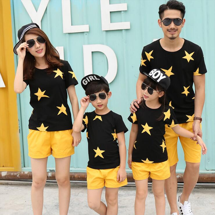 Family matching clothes father mother and boys girls t shirt and short 2pcs stars printed casual cotton clothes mommy and me stx big boys raglan t shirt and athletic short