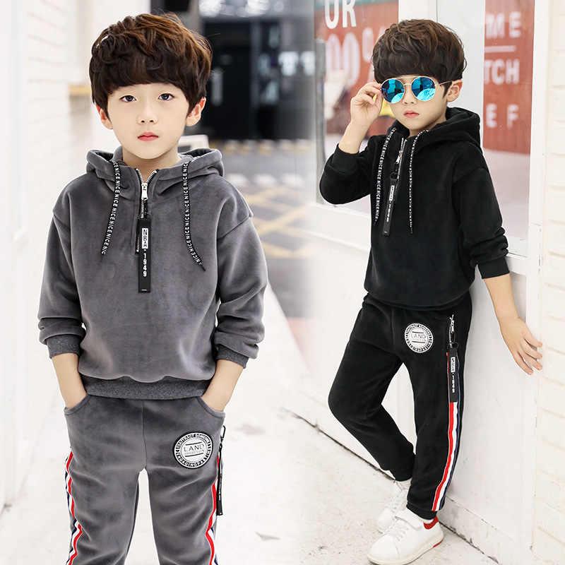 Winter Children Clothing Fashion Kids Boys Clothes Velvet Hoodies+Pant 2pcs  Kids Tracksuit Sport Suit For Boys Clothing Sets Clothing Sets  - AliExpress