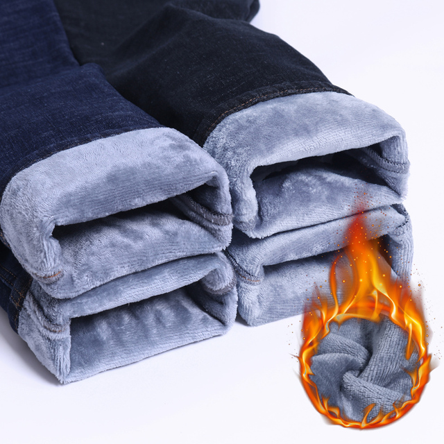 2019  Autumn Winter Jeans Warm Flocking Warm Soft New Men Activities More Thicken Warm Jeans Men Jeans Fit For -15 6