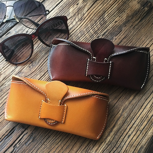 a66d2dd5c0b2 Unisex Full Grain Genuine Leather Handmade Eyeglass Case Vegetable Tanned  Leather Eyewear Sunglasses String Protective holder