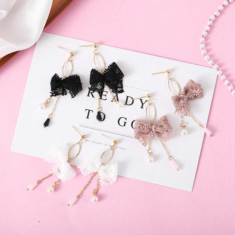 Romantic Pink Black White Bowknot Long Dangle Earrings Lace Imitation Pearl Tassel Drop Earrings For Women Jewelry Korean Style