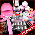 Dryer Nail Kit 12 Acrylic Powder Liquid Kit Glue Brush Glitter Clipper Primer Buffer File Nail Form French Nail Art Tips Set Kit