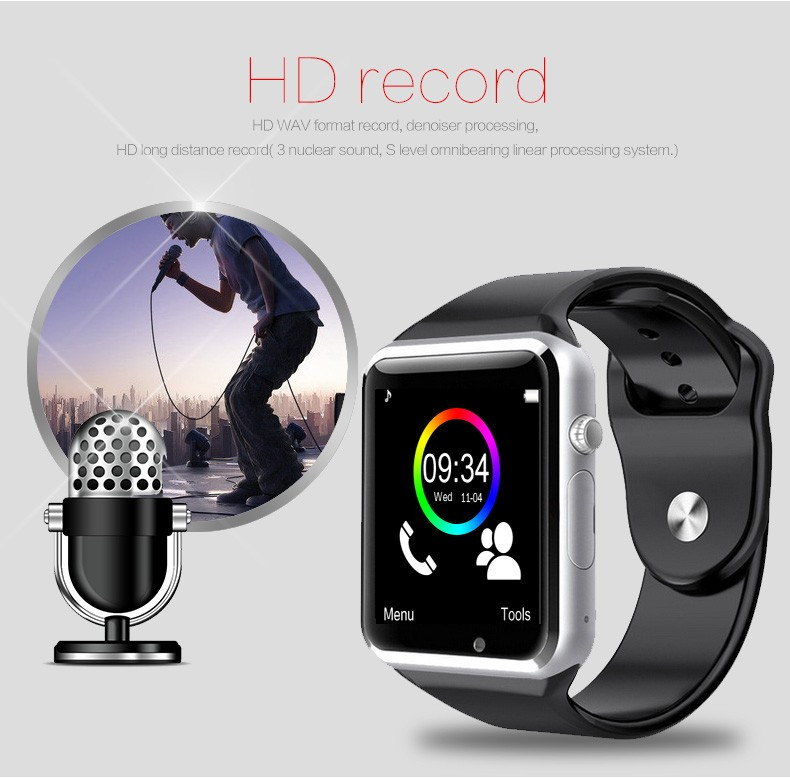 2016 New Arrival A1 Smart Watch Clock Sync Notifier Support SIM TF Card Connectivity Apple iphone Android Phone Smartwatch 13