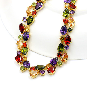 Image 4 - Beautiful Colorful Cubic Zirconia Crystal Mona Lisa Style Necklace and Earrings Jewelry Set in Gold Color Plated