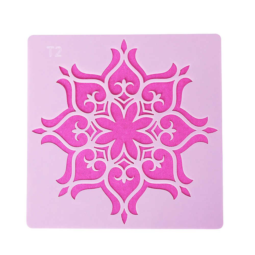 13*13 センチメートルプラスチック曼荼羅補助階層化ステンシル壁絵画スクラップブッキングスタンプアルバムの装飾エンボス紙カードテンプレート