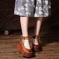2017 Новая Весна Оригинальный Круглый Носок Из Натуральной Кожи Обувь Взрыва Ручной Дамы Туфли На Каблуках Женщина Клинья Обувь 817-1