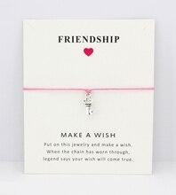 Key Eiffel Tower Skull Skeleton Bow Arrow Daisy Charm Card Bracelets Pink Yellow Women Men Girl Boy Jewelry Gift Custom Colors
