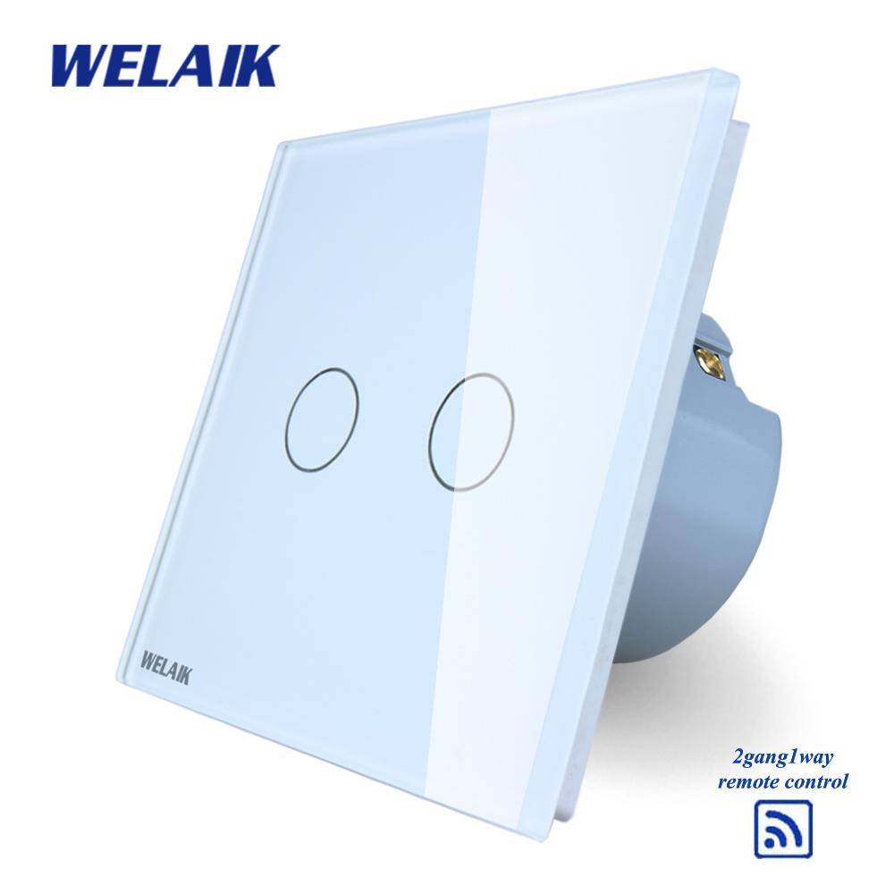 WELAIK  Glass Panel Switch White Wall Switch EU remote control Touch Switch Screen Light Switch 2gang1way AC110~250V A1923CW/B wall light touch switch 2 gang 2 way wireless remote control power light touch switch white and black crystal glass panel switch