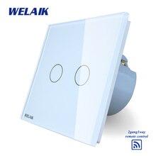 ФОТО WELAIK  Glass Panel Switch White Wall Switch EU remote control Touch Switch Screen Light Switch 2gang1way AC110250V A1923XW/B