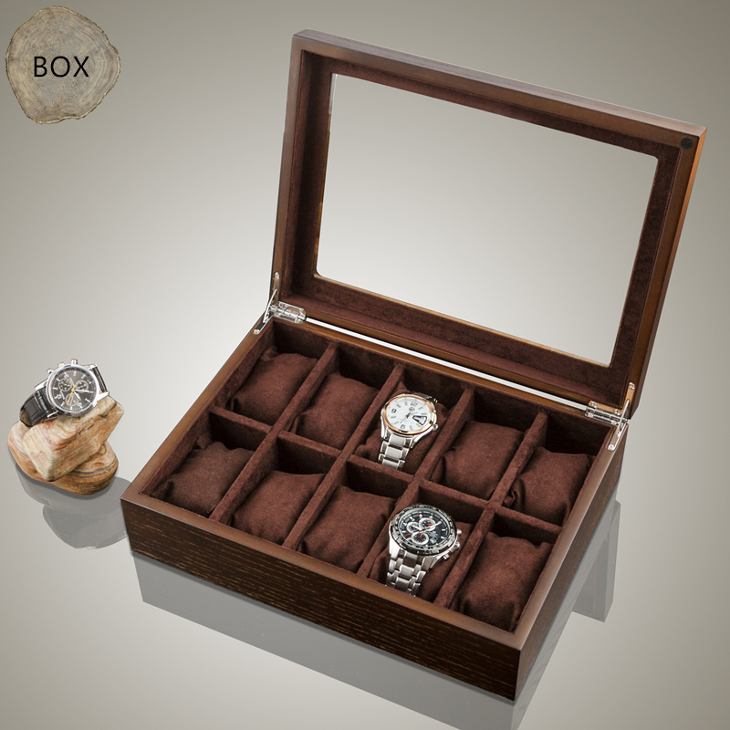 Top 10 Slots Wood Watch Box Fashion Brown Watch Storage Box With Window Watch Display Gift Case W040 fashion luxury wood watch box top yellow durable watch storage case original brand watch display boxes jewelry gift box w058