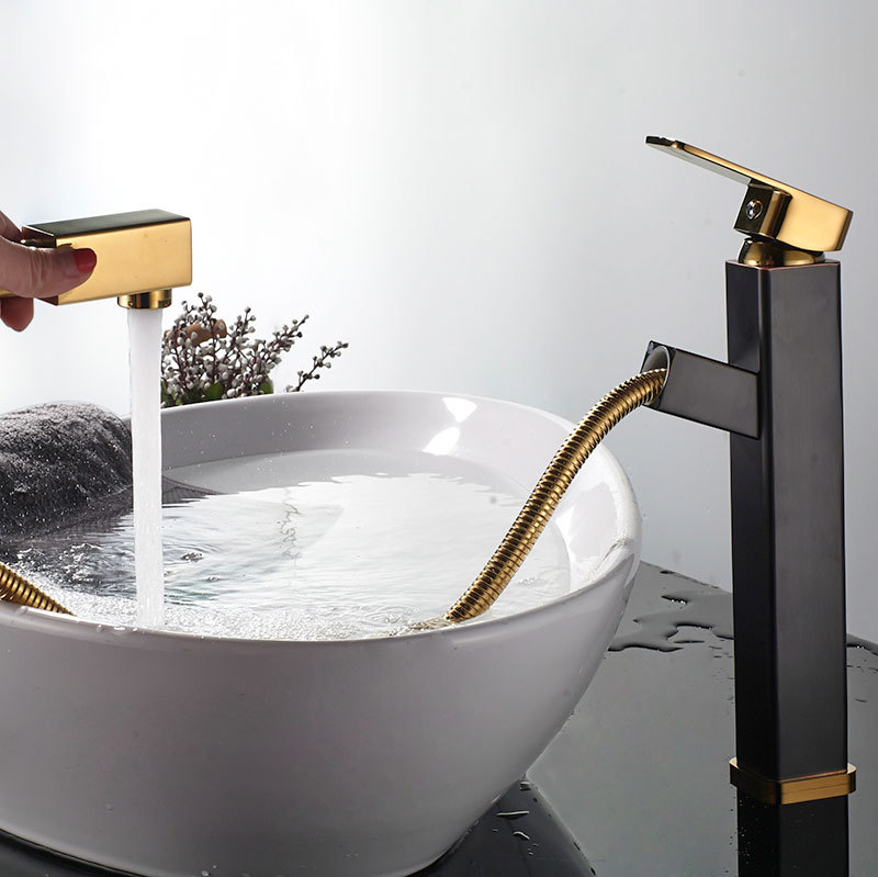 Robinet de salle de bain de luxe noir plaqué or robinet de salle de bain plaqué or espace cuivre lavabo robinet cuivre or mitigeur
