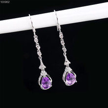 gemstone jewelry manufacturer wholesale fashionable 925 sterling silver natural purple crystal amethyst pendant earrings women