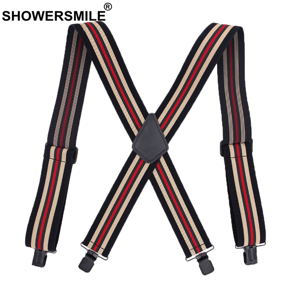 SHOWERSMILE Stripe Suspenders Wide 5cm 4 Clips Mens Trouser Belt Elastic X Back Braces Man Wedding Male Shirt Suspender 120cm