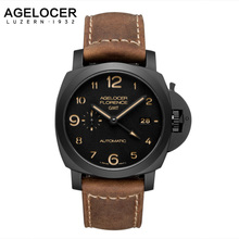 2016 Agelocer Mens Watches Swiss movement  Luxury Military Watches Casual Watch 100% Leather Fashion Wristwatches relojes hombre