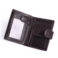 NEW 2 folds Crazy Horse Leather Men Wallets Vintage Cow Genuine Leather Male Short Wallet with Coin Photo Cards Pocket (MLT8301)