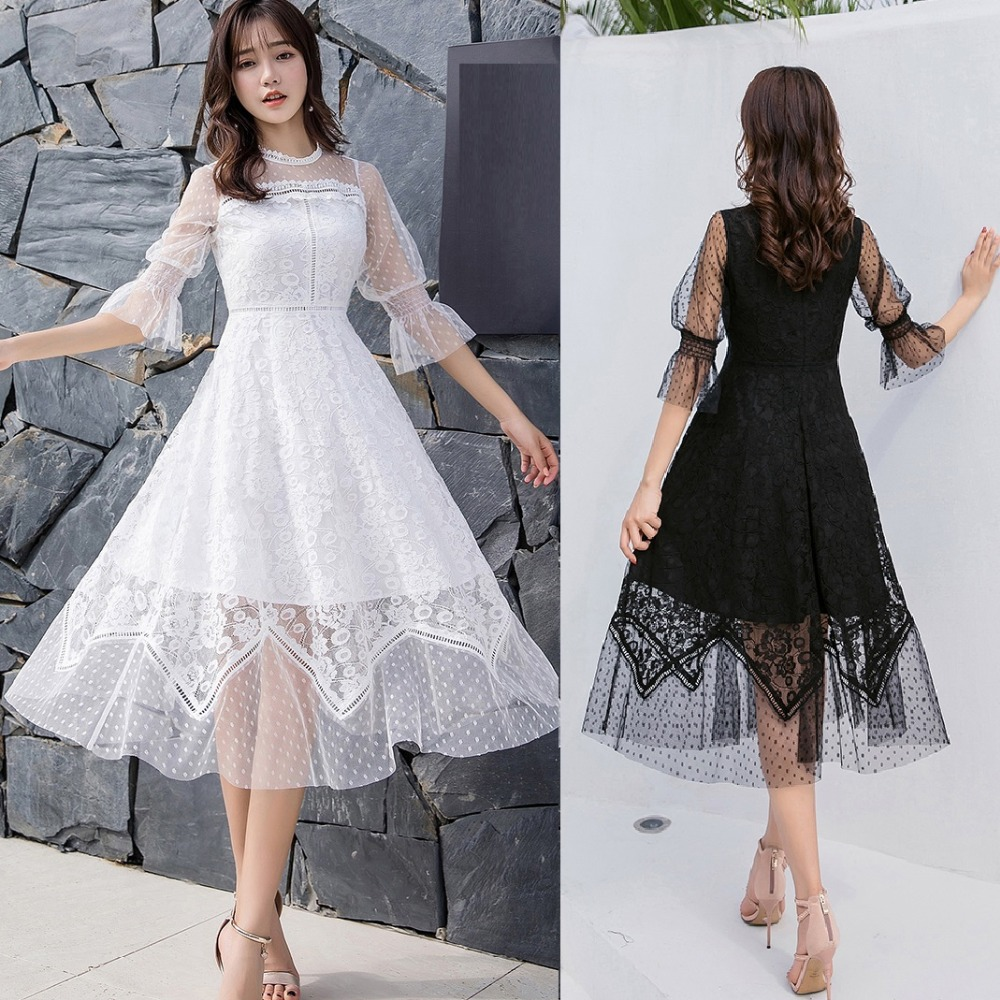 ladies lace long dress sweet elegant party dress longos vestidos plus size flare sleeve cultivating bridemaid dress de festa 4XL-in Dresses from Women's Clothing    1