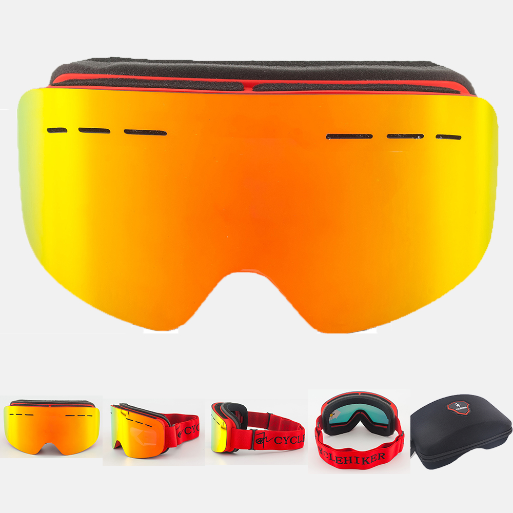 Anti-nevoeiro lente dupla camada óculos de esqui snowboard óculos de esqui inverno lunette de esqui homme homem mulher neve googles