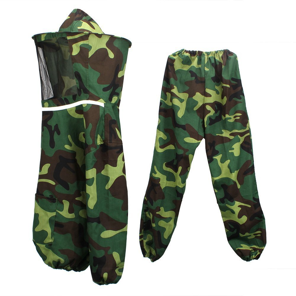 High Quality Beekeeping Full Suit with Veil Jacket and Pants Veil Bee Protecting Dress Camouflage Beekeeping Suit Unisex