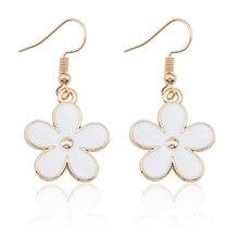 Cute Sweet Enamel Colorful Little Flower Earrings For Women Girls Kawaii Gold Metal Daisy Plant Earings Jewelry