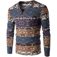 Vintage Chic Geometric Pattern V Neck Sweater Men Casual Knitted Sweater Jacket Long Sleeve Ethnic Knit