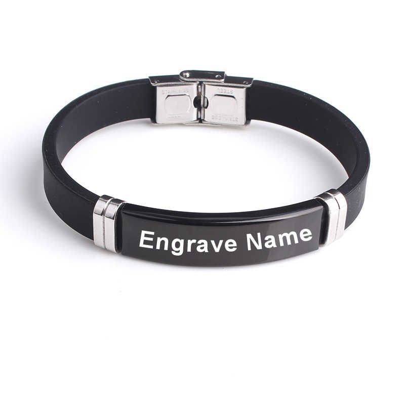 Custom Engrave name Inscription logo Black Smooth Silicone bangle women 316L Stainless Steel bracelets for men jewelry