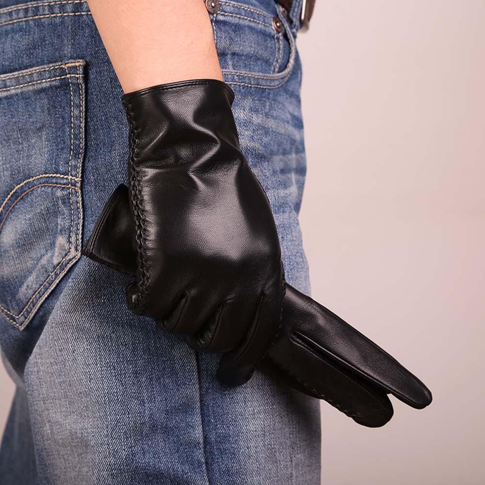 Mens noir en cuir gants hiver en cuir gants