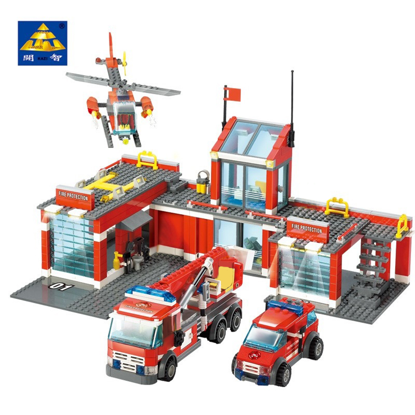KAZI <font><b>8051</b></font> City Fire Station Building Block Compatible 774pcs Bricks Classic Enlighten Educational DIY Toys for Children image