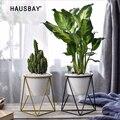 Геометрическая железная подставка для цветов с керамическим горшком для растений Настольный горшок для бонсай в горшке домашний декор цве...