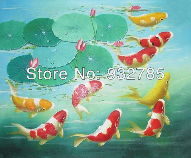 60x100cm Large Canvas Art , Koi Fish Handpainted Oil Paintings Lotus Gold  Feng Shui Wall Home