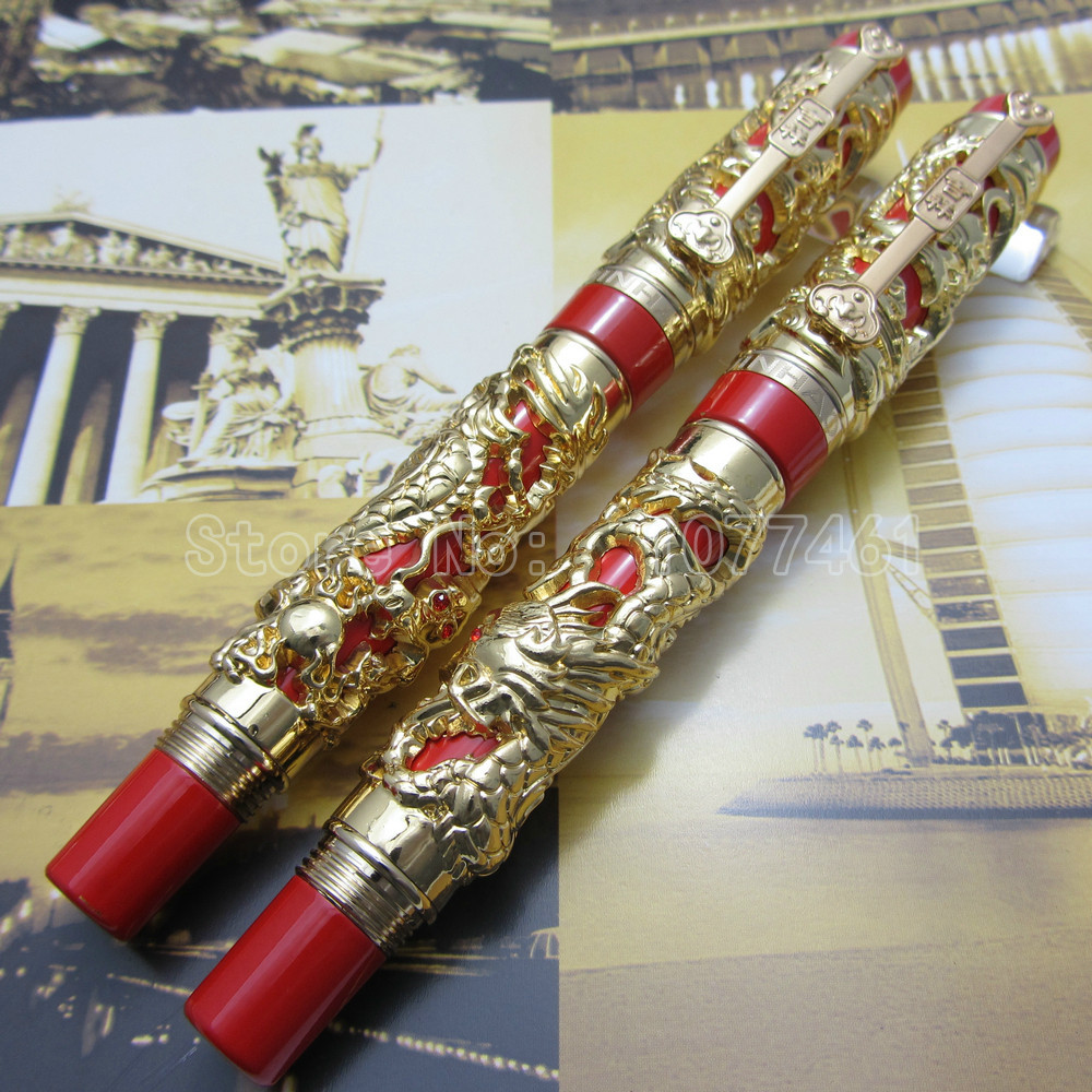 2PCS JINHAO Carving Dragon and Phoenix Lucky Clip Fountain Pen and ball Pen Silver Red White Red Silver Black Optional J1K28R baoyafang new arrival ladies shoes fashion pointed toe high heels pumps women office shoes 7cm heel sexy girls wedding shoes