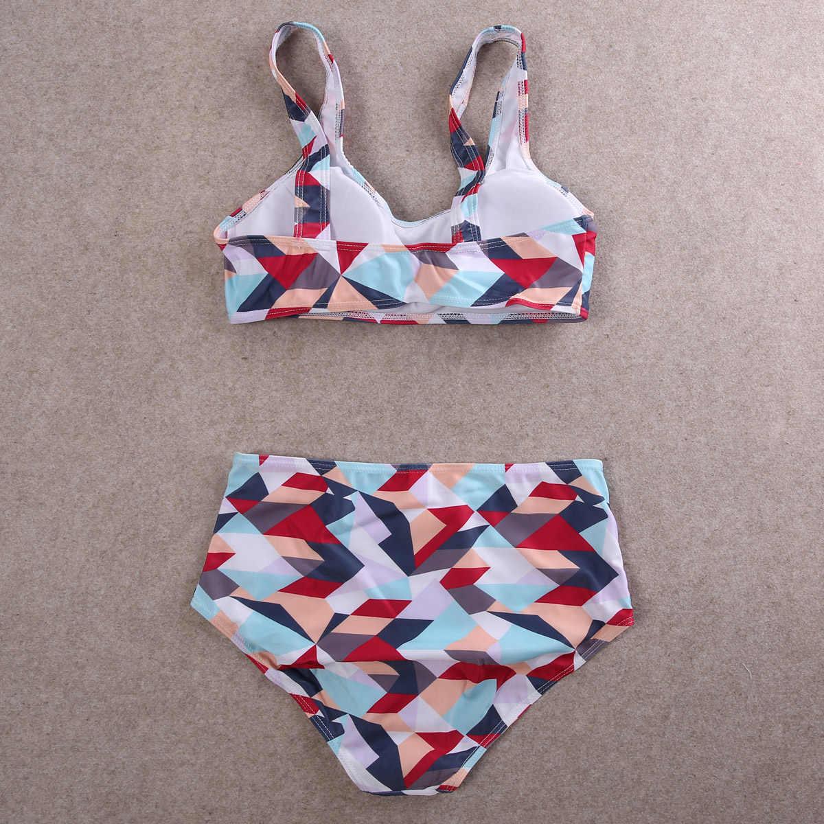 女性 2016 プリントハイウエストビキニ花水着女性ブラジルプッシュアップビキニセット水着プラスサイズの水着 XXL