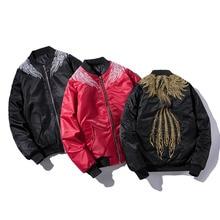Men's Bomber Jacket Satin Phoenix Sukajan Embroidery  MA-1 Air Pilot Hip Hop Baseball Jacket USA High Street Trendy Coat Men's