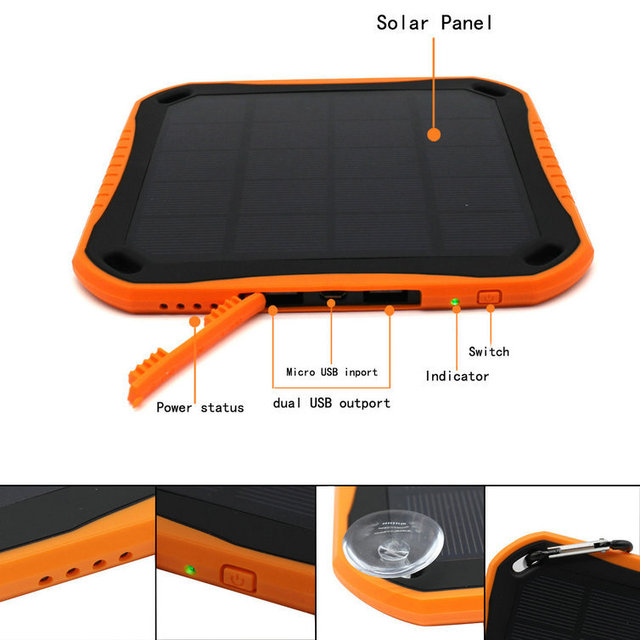 Universal Waterproof Fire-proof Dual USB Ports 5600mAh Solar Power Bank External Battery Travel Camping Charger,With 8 Led Light