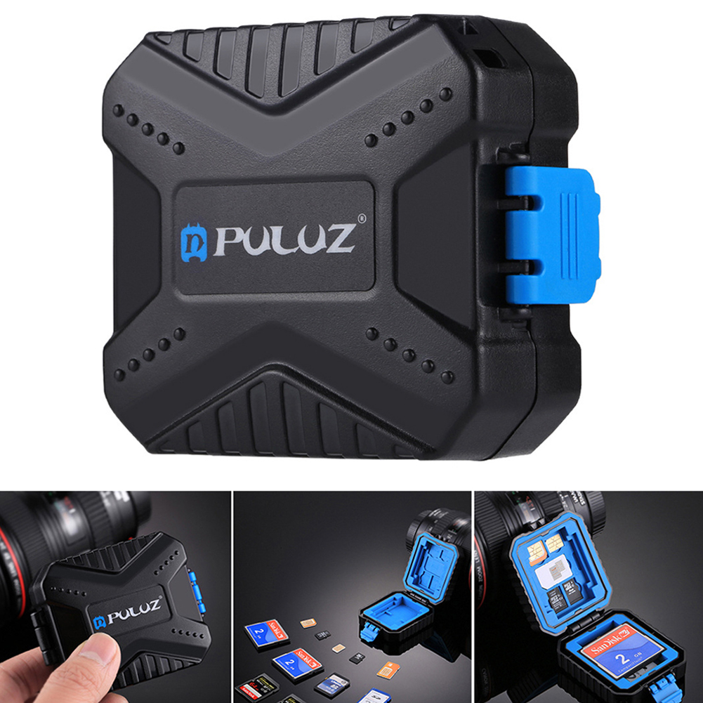 1pcs Black Waterproof Camera TF/CF/SD Memory Card Organizer Case Max 27 Cards Storage Case 5.9*7.3*2.6cm
