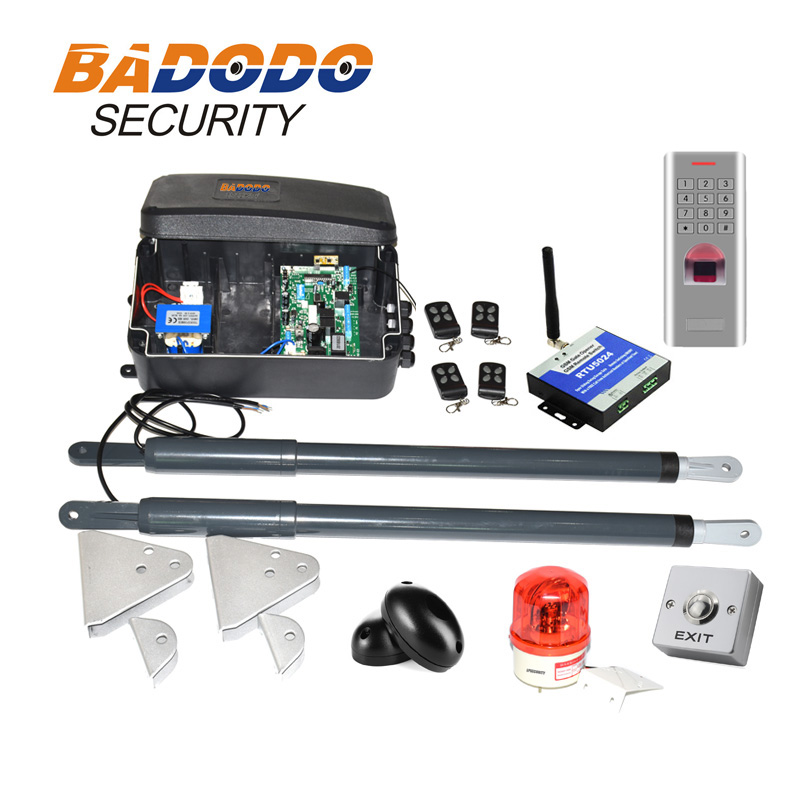 with fingerprint keypad optional automatic swing gate opener gate actuators kit 12VDC 200kg per leaf-in Access Control Kits from Security & Protection    1