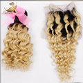 """Ombre Hair Bundles With Closure blonde Deep Wave 2pc Hair With Closure Free Shipping 8""""-30"""" Blonde Bundles Of Hair"""