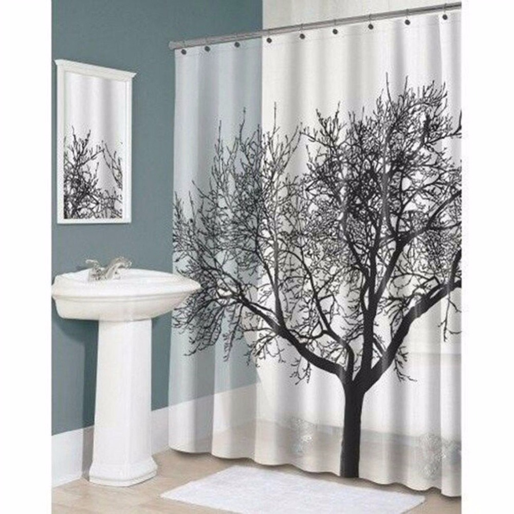 Bathroom blinds and curtains - Elegant Scenery Shower Curtain Tree Pattern Waterproof Bathroom Curtains Polyester Fabrics Bathing Blinds With 12 Pothooks