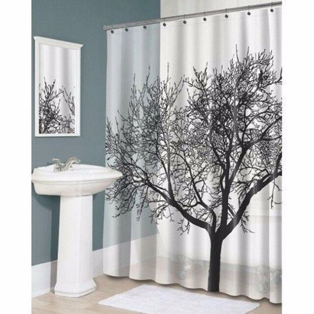 Waterproof bathroom curtains - Elegant Scenery Shower Curtain Tree Pattern Waterproof Bathroom Curtains Polyester Fabrics Bathing Blinds With 12 Pothooks
