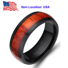 Fashion Jewelry 8mm Men Black Titanium Ring Vintage Wedding Engagement Band with Mahogany Wood Inlay – Ship From US