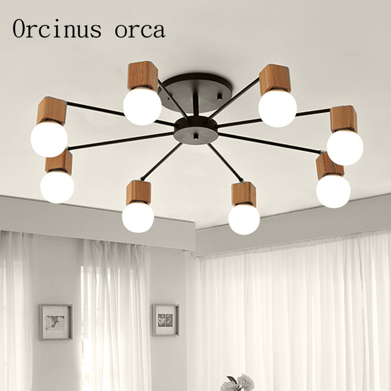 купить AC100-240V wood LED ceiling lights living room bedroom children's room ceiling lamp modern free shipping по цене 6459.76 рублей