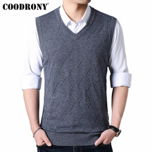 COODRONY Mens Sweaters Autumn Winter Sweater Men V-Neck Sleeveless Vest Pull Homme Knitted Cashmere Wool pullover men 91017