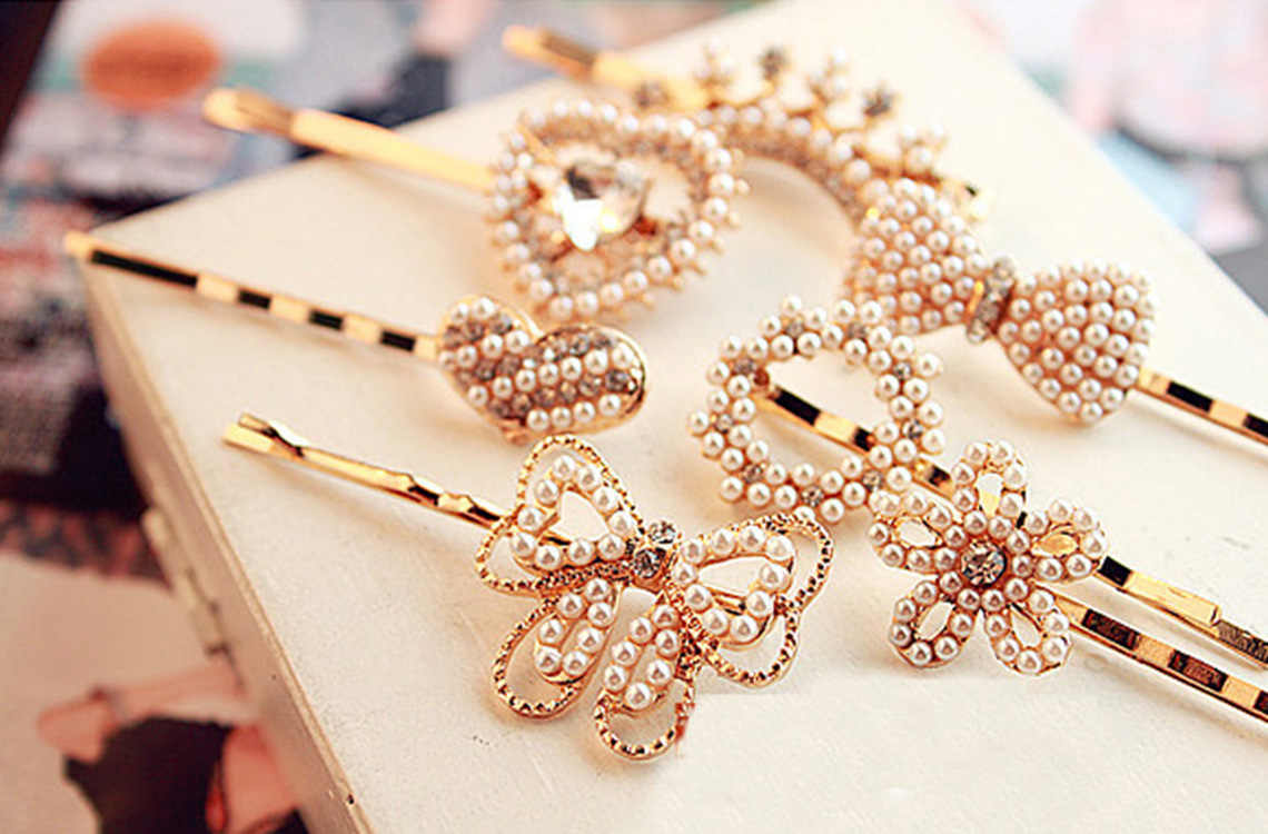 3Pcs Girls Flower Hairpin Faux Pearl Rhinestone Female Hair Clip Fashion Women Heart Hair Barrette Bowknot  Hair Accessories