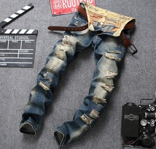 European American Style marque de mode de coton hommes jeans de luxe Hommes casual denim pantalon trou zipper Slim bleu jeans pour hommes