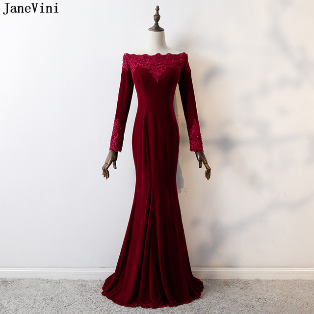 JaneVini Arabic Mermaid Burgundy Prom Dress Long Sleeve Beaded Velvet Bridesmaid  Dresses Boat Neck Lace Appliques Formal Gown 567de4ede89a