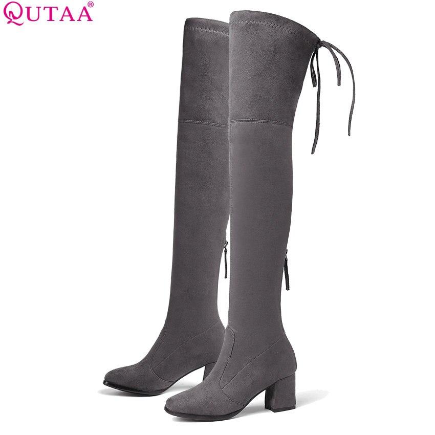 купить QUTAA 2019 Women Over The Knee High Shoes Platform Zipper All Match Square High Heel Sexy Winter Boots Women Boots Size 34-43 онлайн