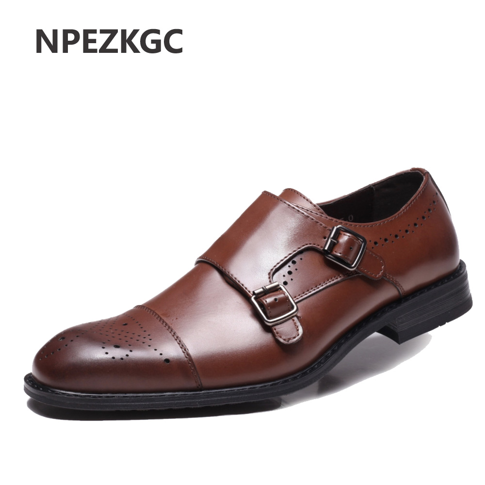 NPEZKGC Men shoes luxury brand designer genuine leather formal wedding dress oxfords derby flats shoes zapatos