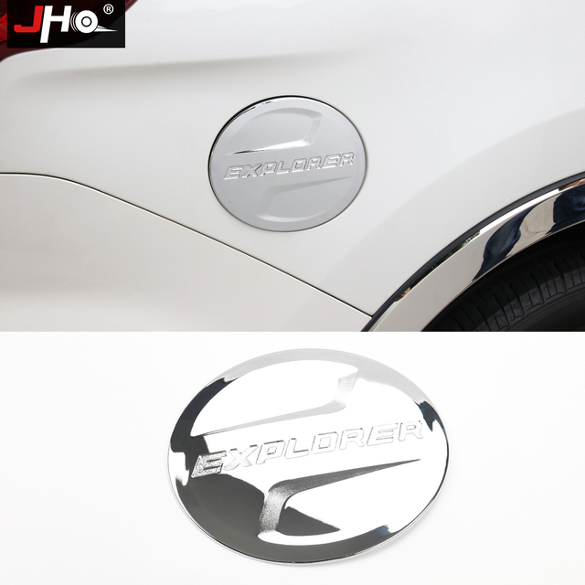JHO ABS Chrome Fuel Tank Cover Oil Gas Cap Trim For NEW Ford Explorer 2011-2018 12 13 14 2015 2016 2017 Car Styling Accessories