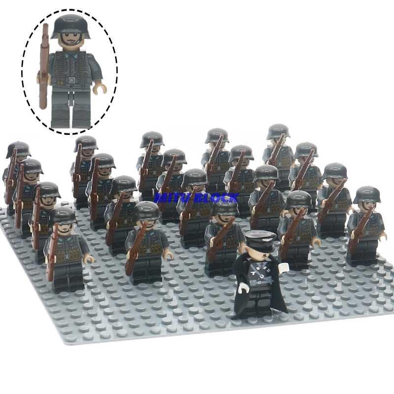 21 pçs/set ww2 oficial soldado do exército militar blocos de construção com armas armas tijolos brinquedos