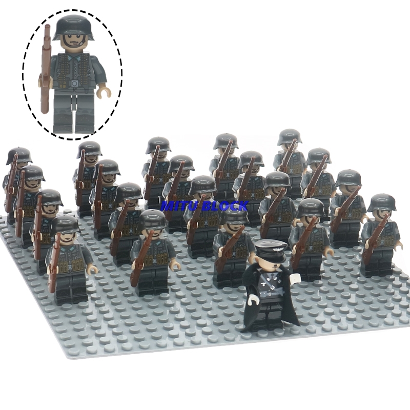 21pcs/set Legoelys WW2 Officer Army Soldier Military Building Blocks With Weapons Guns Bricks Toys