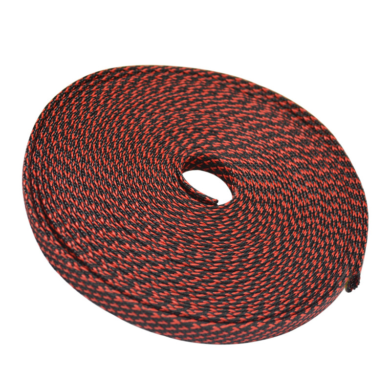 33ft 10m Black Red 4 6 8 10 12 14 16mmbraided Pet Expandable Sleeving High Density  Plaited Cable Sleeves Fabric Cable Diy
